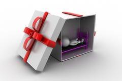 3d man sleeping inside gift box Stock Photos