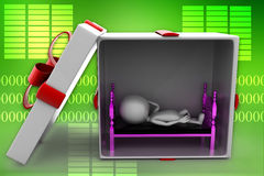 3d man sleeping inside gift box illustration Royalty Free Stock Photography