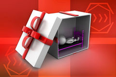 3d man sleeping inside gift box illustration Stock Photos