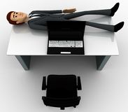 3d man sleeping on office table with laptop concept Royalty Free Stock Image