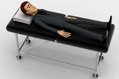 3d man sleeping and resting on stretcher concept Stock Images