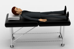 3d man sleeping and resting on stretcher concept Royalty Free Stock Image
