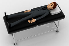 3d man sleeping and resting on stretcher concept Stock Photo