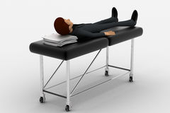 3d man sleeping and resting on stretcher concept Royalty Free Stock Photos