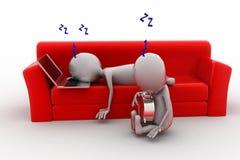 3d man sleeping on sofa concept Royalty Free Stock Photos