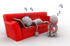 3d man sleeping on sofa concept Stock Photography