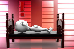 3d man sleeping and thinking illustration Stock Photography