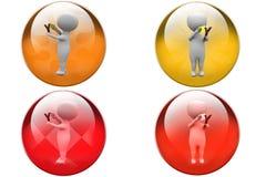 3d man slingshot icon Stock Images