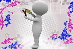 3d man slingshot illustration Royalty Free Stock Images