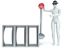 3d man and Slot Machine Royalty Free Stock Images