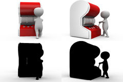 3d man with slot machine concept collections with alpha and shadow channel Stock Photos