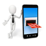 3d man, smart phone and credit card. Online commerce concept Stock Image