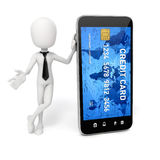 3d man, smart phone and credit card. Online commerce concept Royalty Free Stock Photo