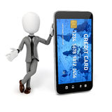 3d man, smart phone and credit card Stock Photo