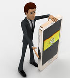 3d man with smart phone and email mail on it concept Royalty Free Stock Photography