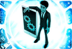 3d man with smart phone and mechanical gears on it illustration Stock Image