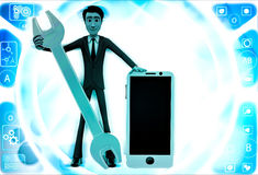 3d man with smart phone and mechanical wrench illustration Royalty Free Stock Photo