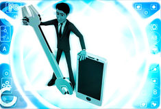 3d man with smart phone and mechanical wrench illustration Royalty Free Stock Photos