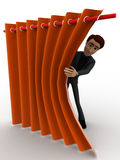 3d man sneeking from carten and hiding behind it concept Royalty Free Stock Images