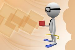 3d man snorkeling  illustration Stock Photo