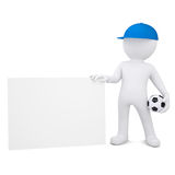 3d man with soccer ball hold blank business card. 3d white man with soccer ball holding blank business card.  render on a white background Stock Image