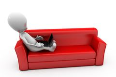 3d man on sofa concept Stock Images