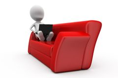 3d man on sofa concept Stock Photography