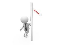 3d man solution sign board concept Royalty Free Stock Image