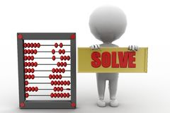 3d man solve abacus Stock Image