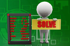 3d man solve abacus illustration Stock Photography