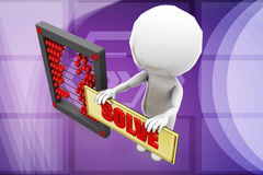 3d man solve abacus illustration Royalty Free Stock Photo