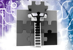 3d man solve last piece of puzzle illustration Royalty Free Stock Images