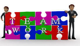 3d man solved jigsaw puzzle with team work concept Stock Images