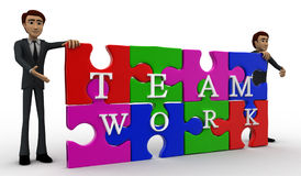 3d man solved jigsaw puzzle with team work concept Royalty Free Stock Photo