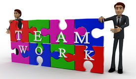 3d man solved jigsaw puzzle with team work concept Stock Photos
