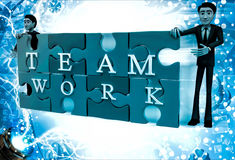 3d man solved jigsaw puzzle with team work illustration Stock Photos