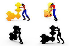 3d man solving puzzle concept Collections With Alpha And Shadow Channel Royalty Free Stock Photo