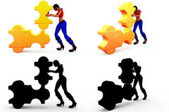 3d man solving puzzle concept Collections With Alpha And Shadow Channel Stock Photography