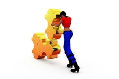 3d man solving puzzle concept Royalty Free Stock Images