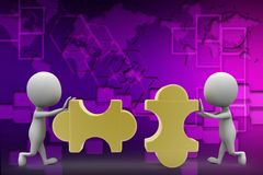 3d man solving puzzle illustration Royalty Free Stock Photography