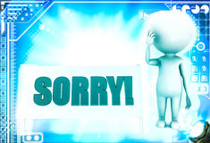 3d man with sorry text and looking worried illustration Royalty Free Stock Photos