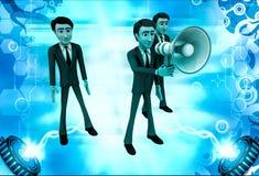 3d man speak loudly in speaker illustration Stock Photo