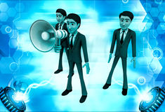 3d man speak loudly in speaker illustration Stock Photos