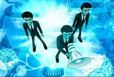 3d man speak loudly in speaker illustration Stock Image