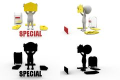 3d man special mail concept collections with alpha and shadow channel Stock Photos