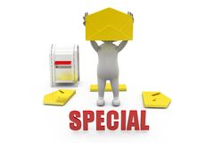 3d man special mail concept Royalty Free Stock Image