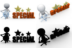 3d man special star concept collections with alpha and shadow channel Stock Photo