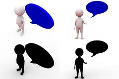 3d man with speech bubble concept collections with alpha and shadow channel Stock Image