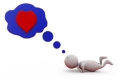 3d man speech bubble heart concept Stock Photography