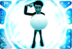 3d man sphere in hands and thinking about it illustration Royalty Free Stock Photos
